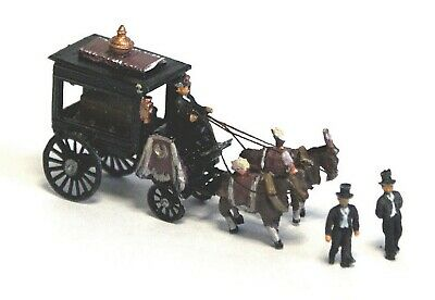 N Scale Unpainted Model Kit Horse Drawn Hearse with Figures and coffin E48