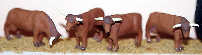 OO Scale Unpainted Model Kit (1:76) 4 Highland Cattle various stances F68a