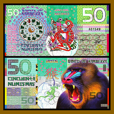 "Kamberra 50 Numismas, 2016 ""Year of the Monkey"" Polymer Unc"