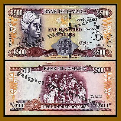 Jamaica 500 Dollars, 2012 P-91 50th Independence Anniv. Commemo. Unc