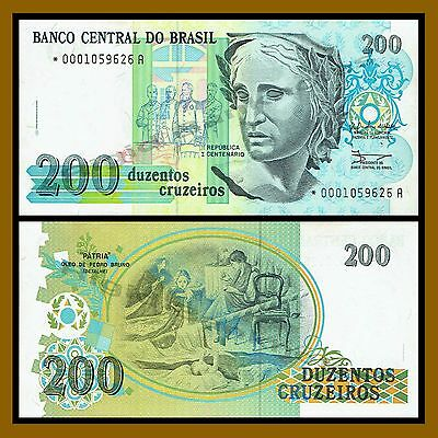 Brazil 200 Cruzeiros, 1989 P-229 Replacement Serial *0001059626A About Unc