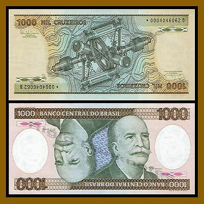 Brazil 1000 Cruzeiros, 1985 P-201c Replacement Star * Serial *0004046062B Unc