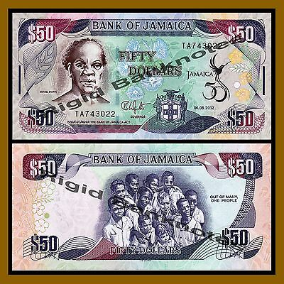 Jamaica 50 Dollars, 2012 P-89 50th Independence Anniversary Unc