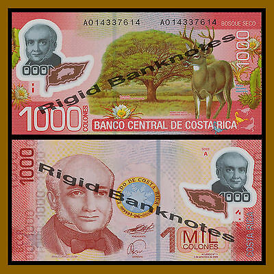 Costa Rica 1000 (Thousand) Colones, 2009 P-274 Polymer Unc