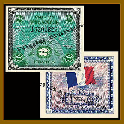 France 2 Francs, 1944 P-115 Allied Military Currency About Unc (AU)