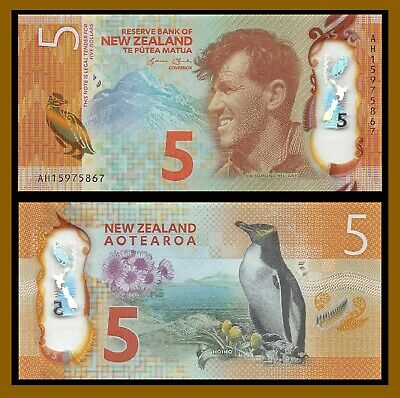New Zealand 5 Dollars, 2015 P-191 Penguin Polymer Unc