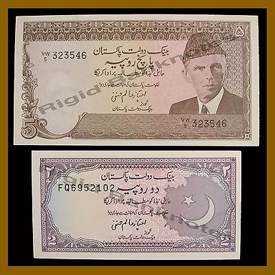 Pakistan 2 5 Rupees Set, 1983-1999 P-37/38  Unc