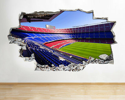 H233 Barcelona FC Boys Smashed Wall Decal Poster 3D Art Stickers Vinyl Room
