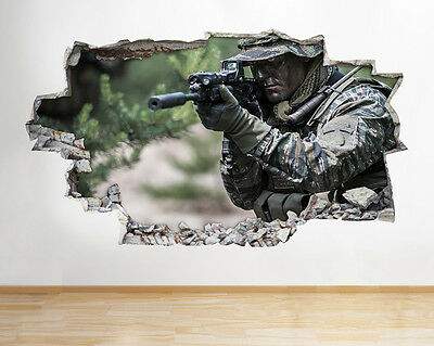 H734 Soldier Army Camouflage Boys Smashed Wall Decal 3D Art Stickers Vinyl Room
