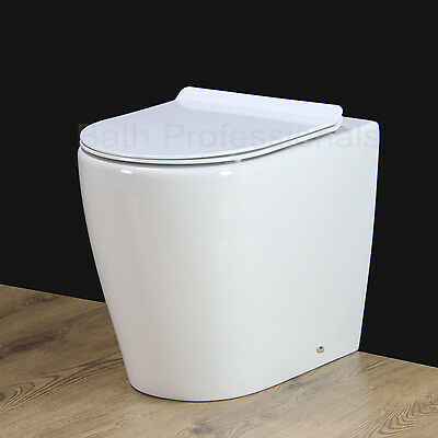 Toilet WC Bathroom Back to Wall Comfort Height Soft Close Heavy Seat Cover B1R