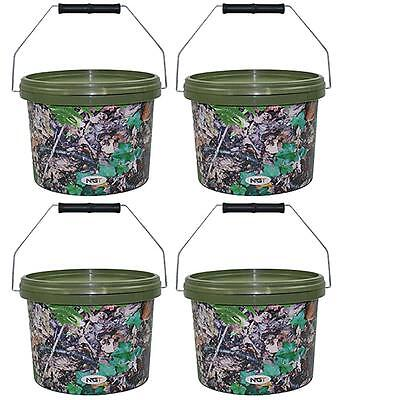 NGT 2.5L Round Camo Bait Fishing Tackle Buckets With Metal Handle 1 2 3 4 Sets