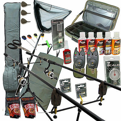 Deluxe Full Carp Fishing Set With 2 Rods Reels Alarms Net & Tackle Bait Pod Bag
