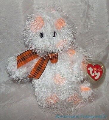 "NEW 2005 TY Beanie PUNKIES Plush Shaggy White 8"" SCREAMERS The GHOST Halloween"
