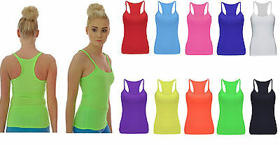 Kids Girls Plain Vest Top Neon Bright Dance Ages 5-12yrs Fancy Dress White Color