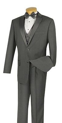 Men's Formal Tuxedo Prom Wedding Groom Suit Classic Fit GRAY With Vest & Bow Tie