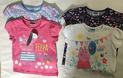 2 Pack Baby Girls Short Sleeve T Shirt with Peppa Pig detail in Pink or White
