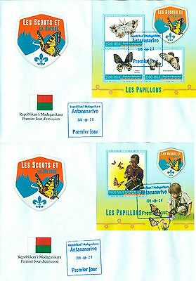 Scouts Butterflies Insects Boyscouts Madagascar 2 first day covers set