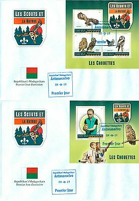 Scouts Owls Birds Boyscouts Madagascar 2 first day covers set