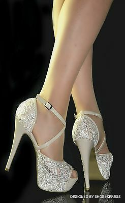 Womens Sexy Beige Lace High Heel Hidden Platform Cross Straps Party Bridal Shoes