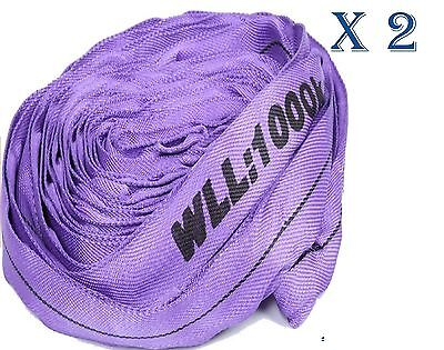 (2 Pack) 1T x 5Metre Round Lifting Slings Test Certificate 100% Polyester 1000Kg