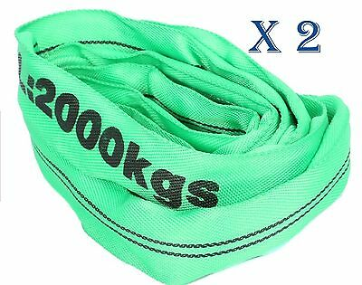 (2 Pack) 2T x 3Metre Round Lifting Slings Test Certificate 100% Polyester 1000Kg