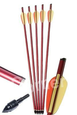 """5 x 20"""" Anglo Arms Alloy Aluminum Crossbow Xbow Bolts Arrows With Steel Tip End"""