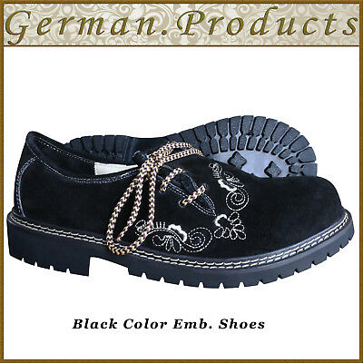Oktoberfest Trachten Embroidery Shoes German Bavarian Lederhosen Black Shoes -AA