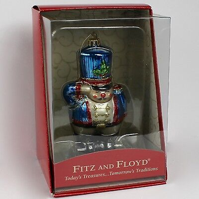 FITZ AND FLOYD Ornament Nutcracker Toy Soldier Salute Gold Glitter Accents 2004