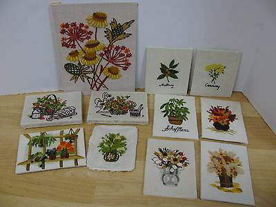 Lot 11 Vintage 1970's Finished Crewel Completed Plants Wildflowers Spices