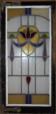 "LARGE OLD ENGLISH LEADED STAINED GLASS WINDOW Awesome Floral Swag 21"" x 43.5"""