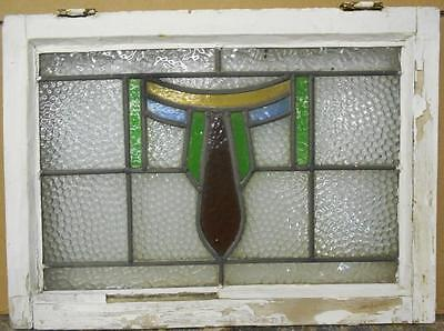 "MID SIZED OLD ENGLISH LEADED STAINED GLASS WINDOW Pretty Abstract 23.25"" x 17"""