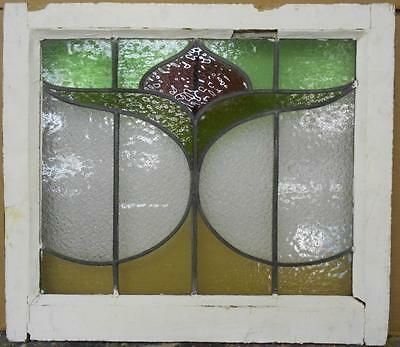 """MID SIZED OLD ENGLISH LEADED STAINED GLASS WINDOW Beautiful Floral 23.75"""" x20.75"""