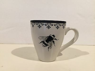 World Market Ceramic Coffee Cup Mug Black & White Bumble Bee