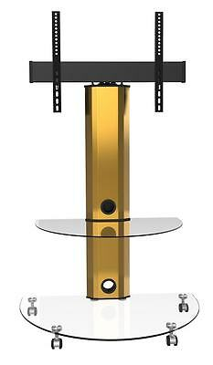 TV Stand With Bracket Cantilever Clear Glass Gold Stand Wheels 32 40 42 46 50