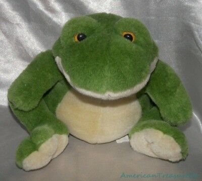 """Rare 1998 WISHPETS Plush 8"""" Velvety Moss Green Tubby PRINCE The FROG Froggy"""