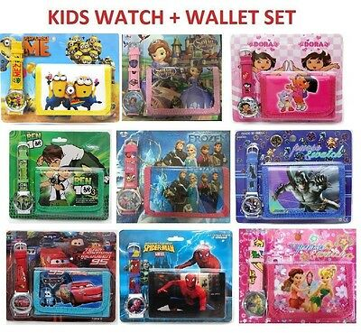 New Watch + Wallet Cars Frozen Kids Girls Boys Birthday Toys Christmas Gift Xmas