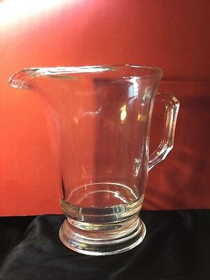 Antique Vintage Art Deco Pressed Fluted Edge Squared Handle Glass Jug Home Bar