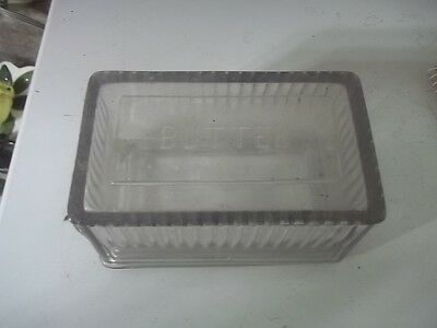 Vintage Clear Glass Covered SCRIPT Butter Dish Refrigerator Dish ESTATE FIND