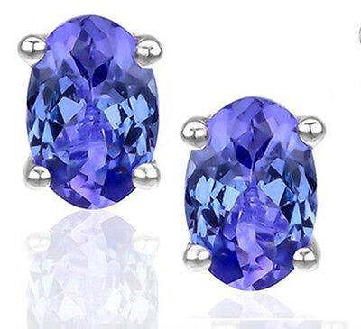 925 Sterling Silver 1ct Tanzanite 6x4 Oval Stud Earrings with Certificate