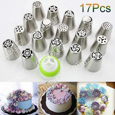 NEW! 17Pcs Russian Tulip Icing Piping Nozzle Set Cake Cupcake Decoration Tips