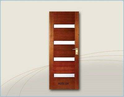 Solid Timber Horizontal 4 glass panel Entry House Door Sizes 820/870/920/1200
