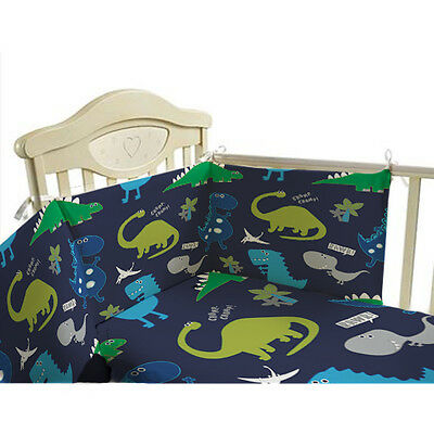Cot Bumper Nursery Bedding Set Dinosaurs Blue Boys Baby Duvet Cover 3 Piece