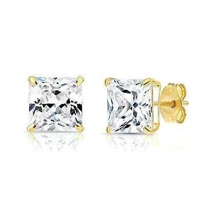 3CT Princess Created Diamond Earrings Square Basket Studs Solid 14K White Gold