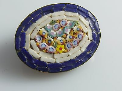 Vintage Very SMALL Micro Mosaic BROOCH PIN Glass Tiles Tiny Flowers C type clasp