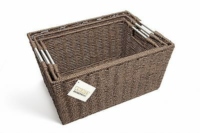 Set of 3 Rectangular Storage Hamper Paper Basket With Insert Handles