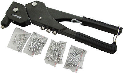 Heavy Duty Swivel Head Hand Riveter With 75 Rivets And 4 Nozzles - Pop Rivet Gun