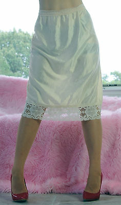 VTG Beige Super Silky Shiny Nylon Wide Lace Floral Embossed Half Slip Skirt