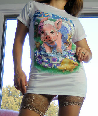 "VTG Katz Kidz BNWT ""Pig Dipper"" Graphic Girls Sleep Shirt Nightgown sz L 8/10"