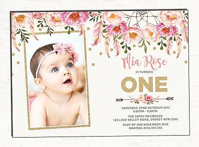 Boho First 1st Birthday Invitation Pink Gold Floral Party Invite Dreamcatcher