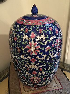 Antique Chinese Blue Floral Famille Rose Porcelain Jar.